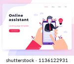 landing page template customer... | Shutterstock .eps vector #1136122931