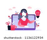 concept customer and operator ... | Shutterstock .eps vector #1136122934