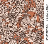 seamless pattern with flowers... | Shutterstock .eps vector #1136125034