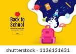 back to school sale banner ... | Shutterstock .eps vector #1136131631