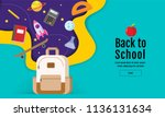 back to school sale banner ... | Shutterstock .eps vector #1136131634