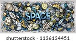 cartoon cute doodles space word.... | Shutterstock .eps vector #1136134451