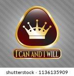 gold emblem with queen crown... | Shutterstock .eps vector #1136135909