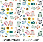 seamless pattern with colorful... | Shutterstock .eps vector #1136143304