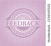 feedback pink emblem. vintage. | Shutterstock .eps vector #1136145101
