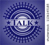 talk emblem with jean texture | Shutterstock .eps vector #1136145185