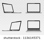 set of laptop with transparent... | Shutterstock .eps vector #1136145371