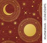 sun and moon in starry sky.... | Shutterstock .eps vector #1136152691