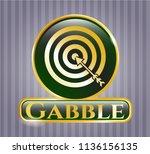 golden emblem or badge with... | Shutterstock .eps vector #1136156135