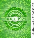 since 1925 green emblem. mosaic ... | Shutterstock .eps vector #1136156159