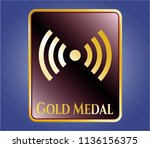shiny badge with signal icon... | Shutterstock .eps vector #1136156375