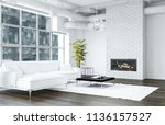 white living room with brick... | Shutterstock . vector #1136157527