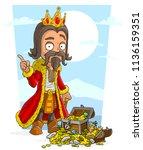cartoon bearded king character... | Shutterstock .eps vector #1136159351
