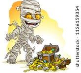 cartoon scary egyptian mummy... | Shutterstock .eps vector #1136159354