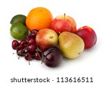 Fruit Variety Isolated On Whit...