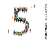 numbers made of people. large... | Shutterstock . vector #1136166941