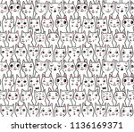 pattern with cats' heads | Shutterstock .eps vector #1136169371