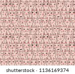 pattern with cats' heads | Shutterstock .eps vector #1136169374