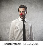 Businessman With A Red Clown...