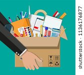 office accessories in cardboard ... | Shutterstock .eps vector #1136176877