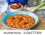 hot turkish bean stew with a... | Shutterstock . vector #1136177204