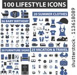 100 lifestyle icons set  vector