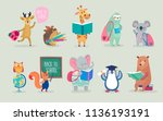 Stock vector back to school animals hand drawn style education theme cute characters bear sloth penguin 1136193191