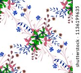 little floral seamless pattern... | Shutterstock .eps vector #1136199635