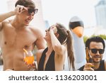 pool party summer concept ... | Shutterstock . vector #1136203001