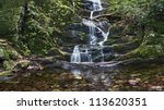"""""""Bottom Falls"""" The scenic Buttermilk Waterfalls in Stokes State Forest in Northern New Jersey. - stock photo"""