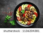 salad with fresh and grilled... | Shutterstock . vector #1136204381