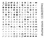 raster set of 150 web icons  ... | Shutterstock . vector #1136205941