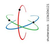 atom icon. raster illustration. ... | Shutterstock . vector #1136206121