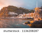 ponta do sol beach and city... | Shutterstock . vector #1136208287