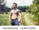 handsome muscular shirtless... | Shutterstock . vector #1136212241