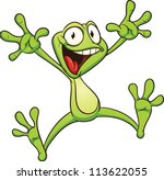 Excited Cartoon Frog. Vector...