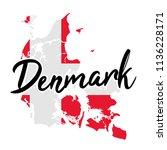 denmark map silhouette flag... | Shutterstock .eps vector #1136228171