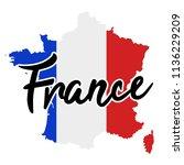 france map silhouette flag... | Shutterstock .eps vector #1136229209