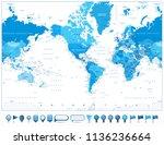 america centered world map blue ... | Shutterstock .eps vector #1136236664
