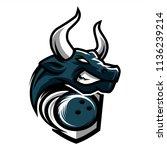 bowling bull team logo   Shutterstock .eps vector #1136239214