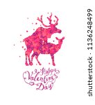 happy valentines day card with... | Shutterstock .eps vector #1136248499