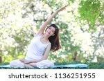 beautiful young asian girl...   Shutterstock . vector #1136251955