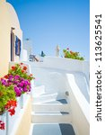 white old staircase and flowers ... | Shutterstock . vector #113625541
