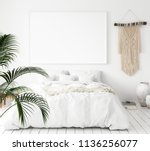 scandi boho style bedroom  3d... | Shutterstock . vector #1136256077