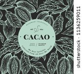cocoa bean tree banner template.... | Shutterstock .eps vector #1136259011