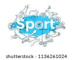 vector template. doodle sports... | Shutterstock .eps vector #1136261024