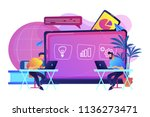 students with laptops sitting... | Shutterstock .eps vector #1136273471
