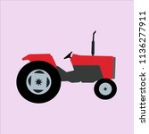red old tractor icon | Shutterstock .eps vector #1136277911