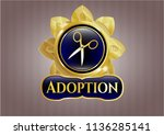 gold emblem with scissors icon ... | Shutterstock .eps vector #1136285141
