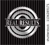 real results silvery emblem or... | Shutterstock .eps vector #1136285171